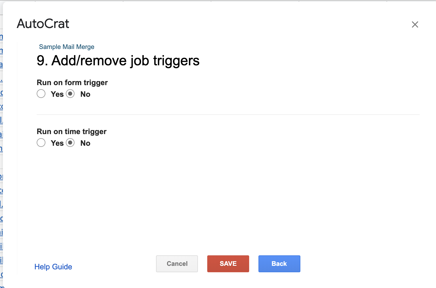 Autocrat add remove job triggers